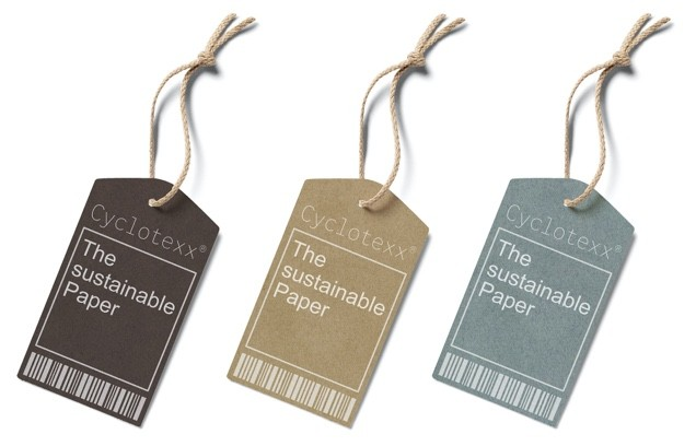 Hang tags and clothing signs made from sustainable upcycling paper from Cyclotexx